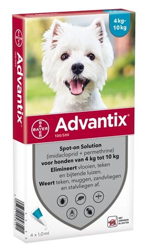 Advantix 100/500 voor honden van 4 tot 10 kg 4 pipetten
