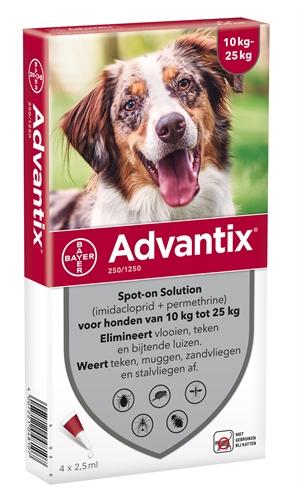 Advantix 250/1250 voor honden van 10 tot 25 kg 4 pipetten