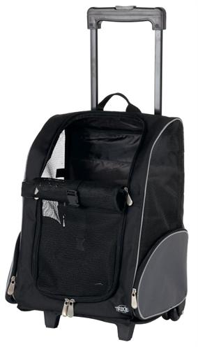 Trixie reismand trolley zwart / grijs 36x27x50 cm
