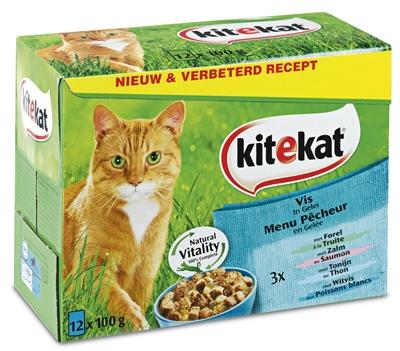 Afbeelding van Kitekat Pouch Vlees In Gelei 12x100gr Kattenvoer Natvoer