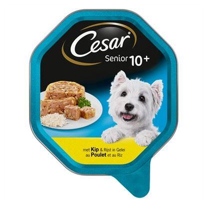 Afbeelding van Cesar Senior Kip&Rijst in gelei Alu Kuipje 14x150gr Hondenvoer Natvoer