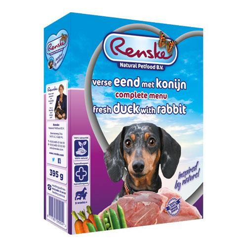 Afbeelding Renske Vers Eend en Konijn hondenvoer 1 tray (10 x 395 gram)